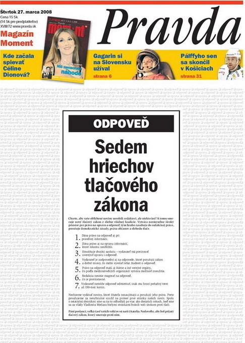 Protest slovenských deníků 2