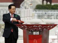 Zapálení olympijského ohně v Číně