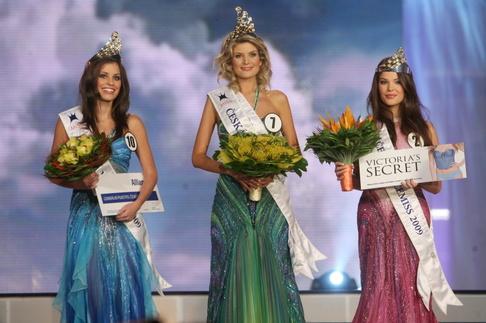 Finále České Miss 2009 - 1. Vicemiss Tereza Budková, Česká Miss Iveta Lutovská, 2. Vicemiss Zina Šťovíčková