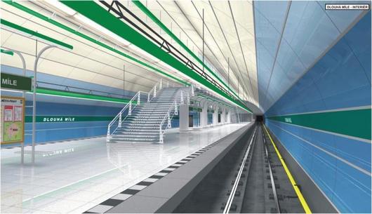 Plány nakresleny. Vizualizace stanice metra Dlouhá Míle. Nad plánovanou stanicí jsou pole.