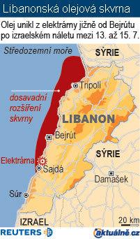 Mapa Libanon, ropná skvrna