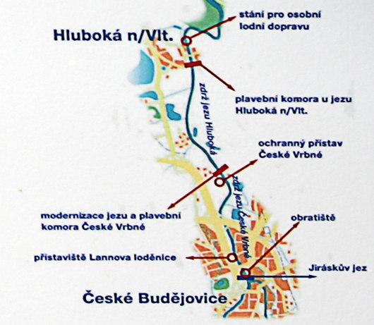 První splavný úsek v Jižních Čechách mezi Budějovicemi a Hlubokou by měl být dokončen v květnu 2011. Cesta k zámku bude mít čtyři zastávky.