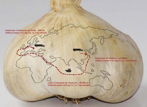 Cesta česneku z Číny do českého obchodu