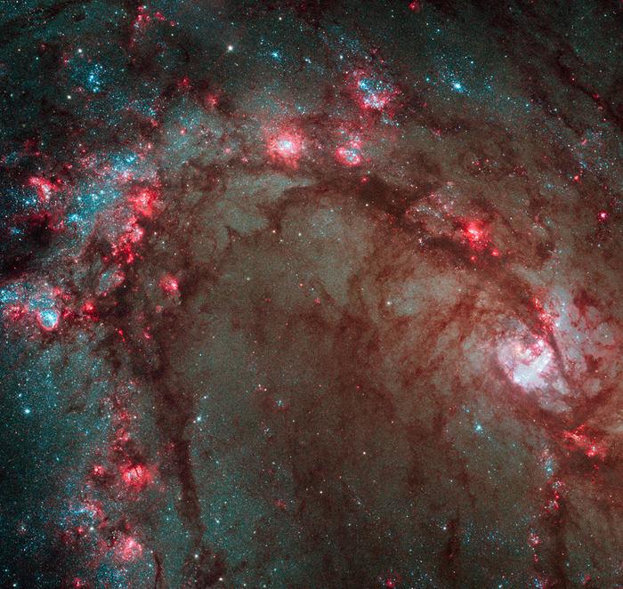 Následky zrození hvězdy v blízkosti galaxie M83.