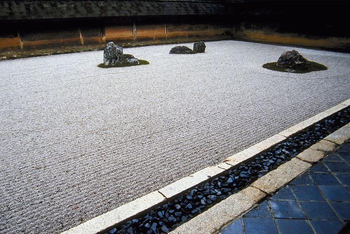 Suché zahrady tzv kare san sui vodu tady nahrazuje kamenné