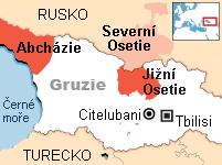 Mapa Gruzie - Severní a Jižní Osetie, Abcházie